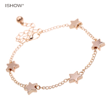 Gold Color Charm Bracelet for women Fashion jewelry Cute Stats statement link Chain bracelet anklet femininas bracciale pulseira(China)