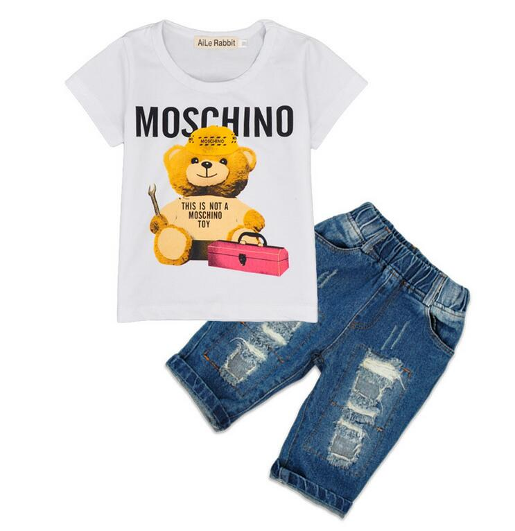 Retail! 2016 Baby Boys Sport Clothes Set,3-7Yrs Boys Summer T-shirt+Jeans 2pcs Fashion Cotton Clothes Suit,Girls Clothes Set<br><br>Aliexpress
