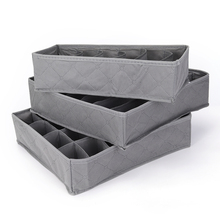 New 3pcs/lot 3 in 1 Bamboo Storage Box Container Drawer Divider Lidded Closet Boxes For Ties Socks Bra Underwear Organizer Hot(China)