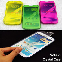 Note2 Crystal Case for Samsung Note 2 N7100 Flip Transparent Clear Soft Silicone Cases Flexible TPU Durable Cover SM note2Case(China)