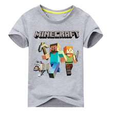 Boy Girls Summer Cartoon Print T-shirts Children 100%Short Sleeves Tee Tops Clothes Kids White character Shirts Clothing TP011