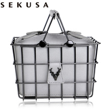 SEKUSA PU Fashion Women Box Evening Bag Hollow Out Animal Lady Handbags With Chain Shoulder Clutch Purse Bag(China)
