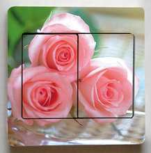 Gorgeous Rose flowers Switch Stickers,Very Beautiful flowers Switch Stickers,Living room Fashion Decor Light Switch stickers