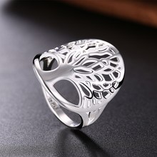 New Tree of Life Ring Classic Accessories hollow Style Fashion Silver Plated Unique Novelty Style erkek Women male Lady Gift(China)