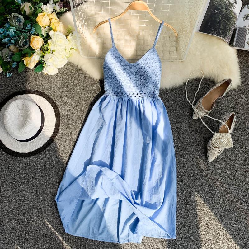 19 new fashion women's dresses Fresh openwork knit stitching V-neck strap high waist dress 8