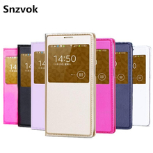 Snzvok View Window Flip Case For Samsung Galaxy S8 Plus 2017 A3 A5 A7 J3 J2 J5 J7 S6 S7 edge A8 Note 8 5 PU leather phone(China)