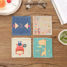 Cotton Linen Coasters Cartoon Square Dinner InsulationTable Mat  Dish Bowl Cup Drink Placemat Tableware Kitchen Table Decor Pad