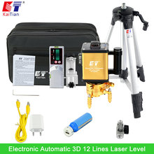 KaiTian Green Laser Level Tripod with Battery Outdoor Receiver Tilt Slash Function 3D 12 Lines EU Vertical & Horizontal Lasers(China)