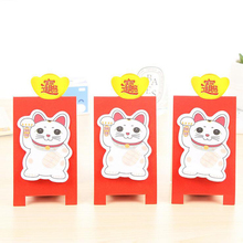 T32 4X Cute Kawaii Red Lucky Cat Memo Pads Sticky Notes Sticker Decor Bookmark Message Stationery School Office Supply