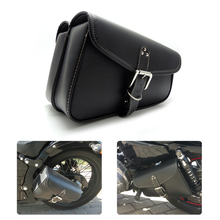 Motorbike Saddlebags PU Leather Swingarm Bag Saddle Bags Side Tool Bags Storage For Harley Sportster(China)
