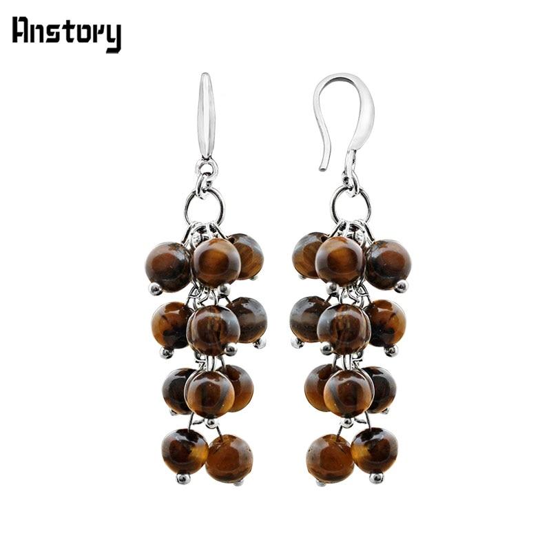 Extra Long Gold Earrings Tigers Eye Gemstone Bead Drop Dangle Vintage Style