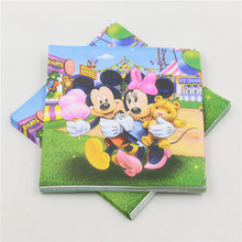 mickey and minnie mouse printed birthday decor paper napkins/towel/tissues party supplies 20pcs/bag