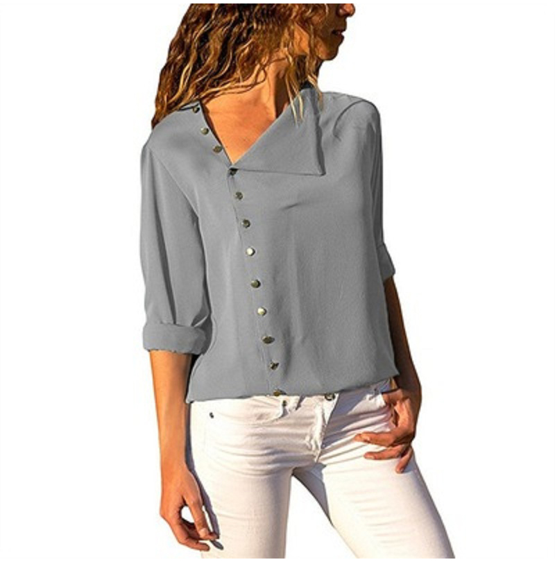 LOSSKY Fashion Long Sleeve Skew Collar Button Womens Tops And Blouses 2018 Spring Autumn Casual Streetwear Yellow Office Shirts 9