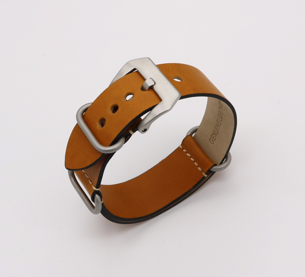 24mm NEW Man Lady Light Brown Khaki VINTAGE Watch Band Strap Belt Real Leather Silver Brushed Screw Buckle Luxury Nato Zulu Ring<br><br>Aliexpress