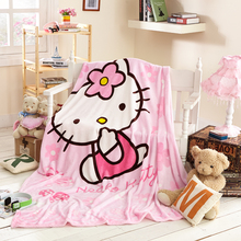Home Textile Pink Hello Kitty Cartoon Pattern Throw Blanket Suitable for Kids Girls 150x200cm Flannel Blankets for Beds