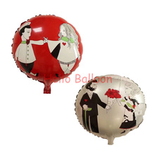 New 18inch 50pcs/lot Happy Wedding Foil Balloons Valentines Day Helium Balloon Party Decorations Flower Love Balloons(China)