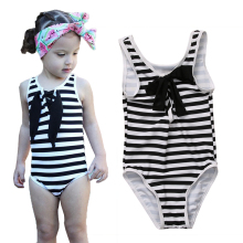 2017 Little Girls One-piece Zebra Striped Swimsuit Baby Girl Bowknot Swimwear Swimsuits Bathing Swimming Suit Costume(China)