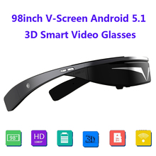 UpgradedVersion! FullHD 1080P 98inch V-Screen Android5.1 OS WiFi Touch-Button Track Ball Opera Browser 3D Smart Video Glasses(China)