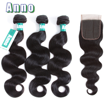 Anno Hair Pre-Colored Peruvian Hair 3 Bundles With Closure Peruvian Body Wave With Closure Cheap Human Hair Bundles With Closure(China)