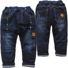 4080 winter kids pants boys jeans very warm boys cotton-padded trousers girls think navy blue new children baby pants(China)