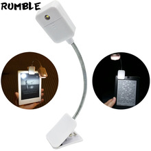 Rumble For Kindle For Kobo EBook Light Booklight Led Lamp Mini Pocket Book Light Flexible Clip-on Book Reader Reading Lamp White(China)