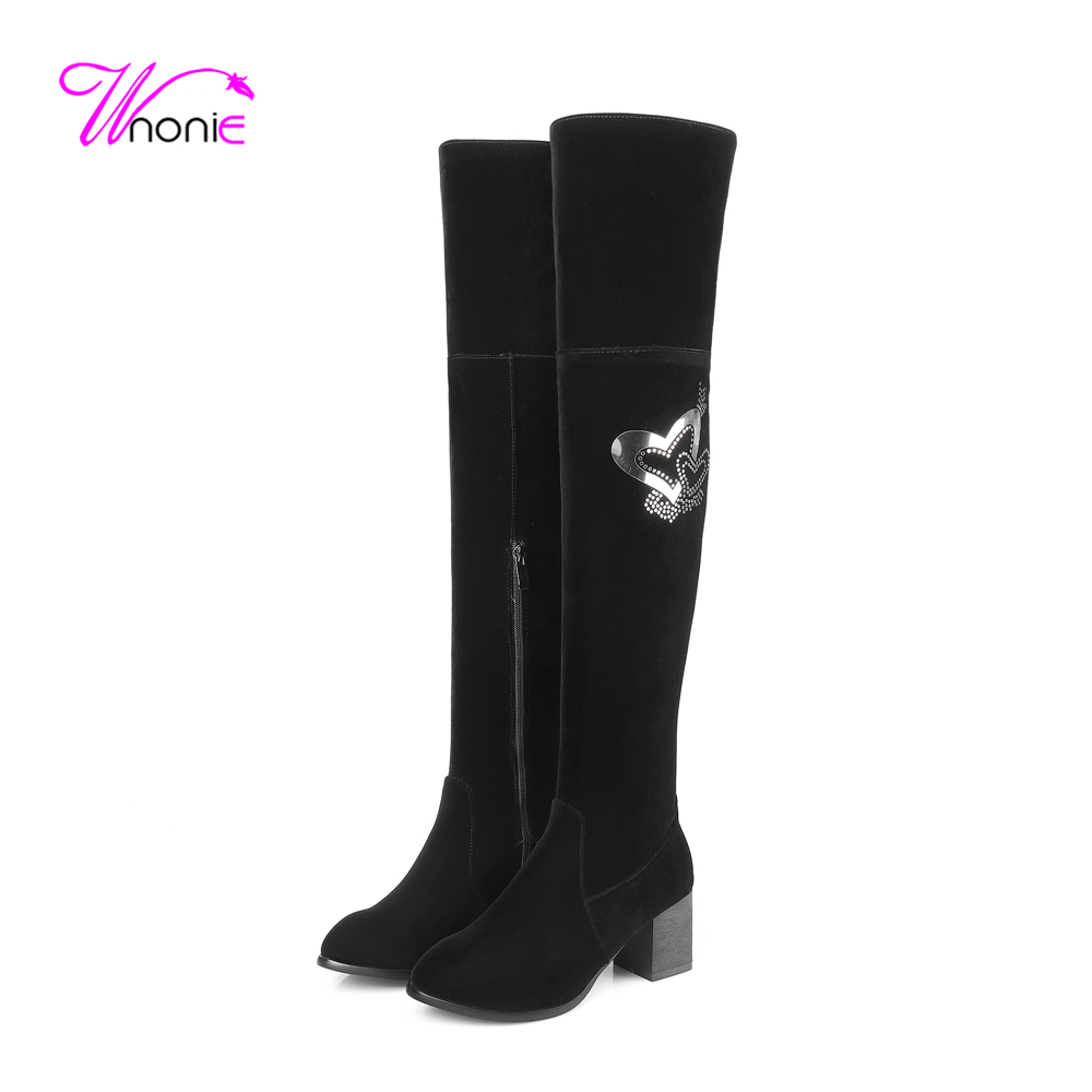 2017 Fashion Women Boots Riding Thigh-High Square Heel Heart Glitter Flock Warm Plush Casual Party Long Winter Boots Lady Shoes<br><br>Aliexpress