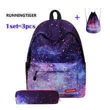 Women's Backpack Universe Space Unicorn Backpack With Drawstring Bag and Pencil Case 3pcs Sets High Quality mochila feminina(China)