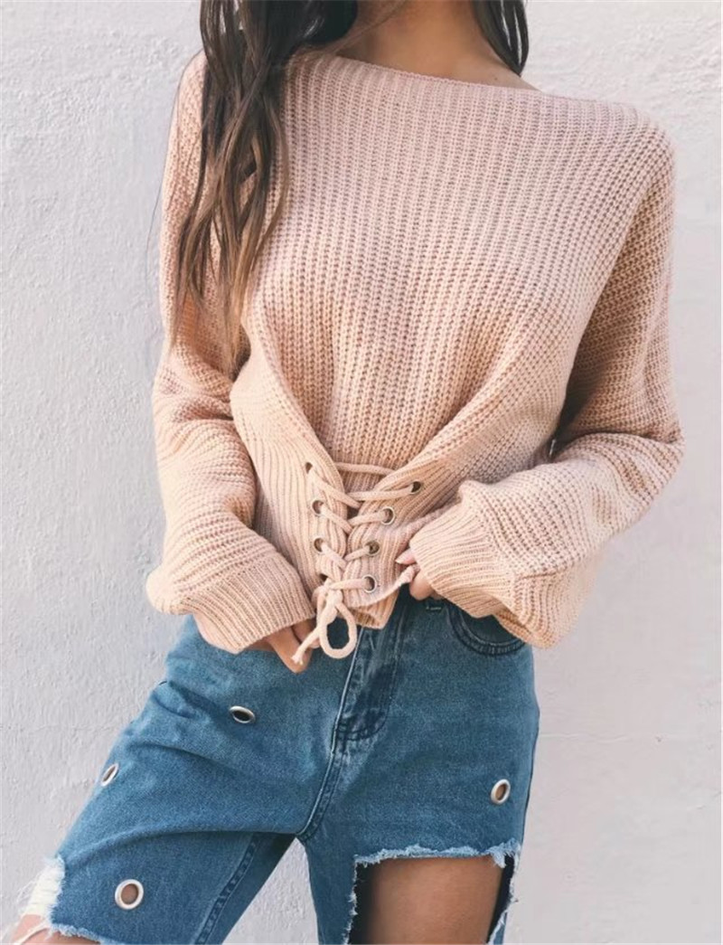 Autumn Lace Up Sweater, Women's Knitted Solid Jumper, Adjust Waist Bandage Sweater 11