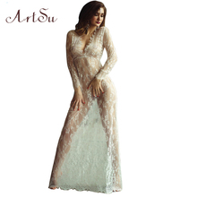 ArtSu Women Floor-Length Black White Lace Dress Adjust Waist Sexy See Through Floral Vestido Free Shipping DR5046