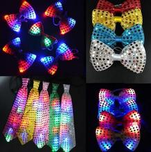 Sequins LED Necktie Light Up Neck Tie luminous Bowtie Flashing Blinking Party Favors Christmas Halloween club bar stage props