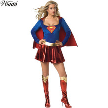 Sexy Wonder Woman Costume Ladies Halloween Cosplay Adult Super Girl Super Hero Fancy Dress With Shawl + Boot Cover(China)