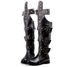 Custom Hand Made Male Boots Fashion Star Style Performance Rivet High Boots Punk Rock Rivet Over Knee Boots