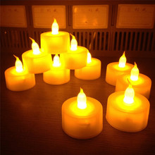 New 12 pcs/lot Flickering Flameless LED Tealight Flicker Tea Candle Light Xmas Party Wedding Candles Safety Home Decoration(China)
