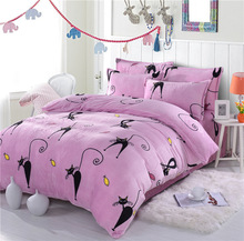 4pcs Polar Fleece Fabric Bedding set Queen Size King Pink Cat Bedding Coral Fleece Sheets with Duvet Cover Bed Sheet set Winter