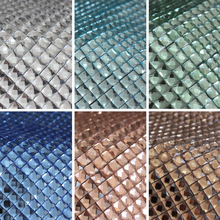 Brilliant color Motif Rhinestone 8X8MM Square Glass Mesh faces 23.5*40mm Stick-on Crystals Patch(China)