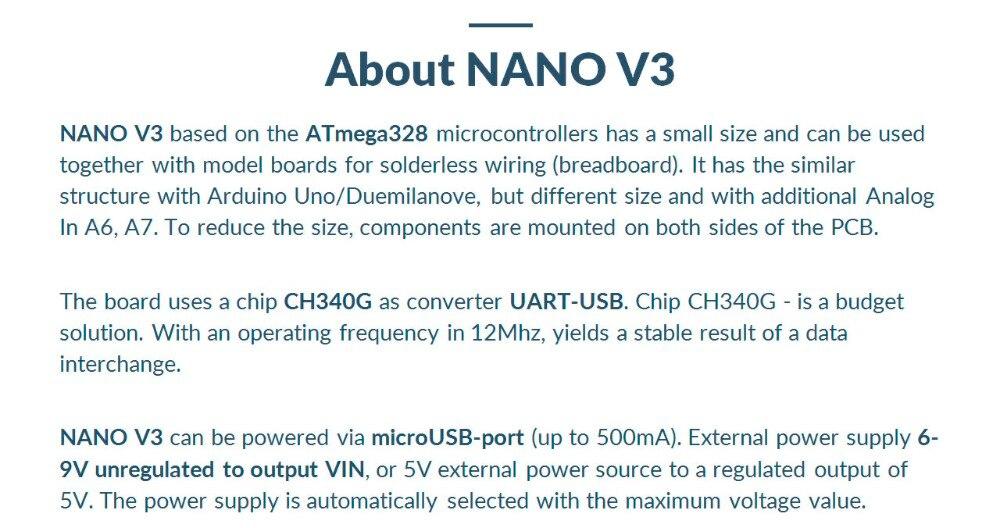 Nano V3 ATmega328/CH340G