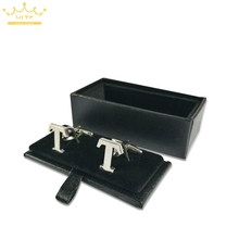 New Black Leather Cufflinks Box Gift Storage Case 5pcs/lot Cuff Box Jewelry Carrying Case Free Shipping