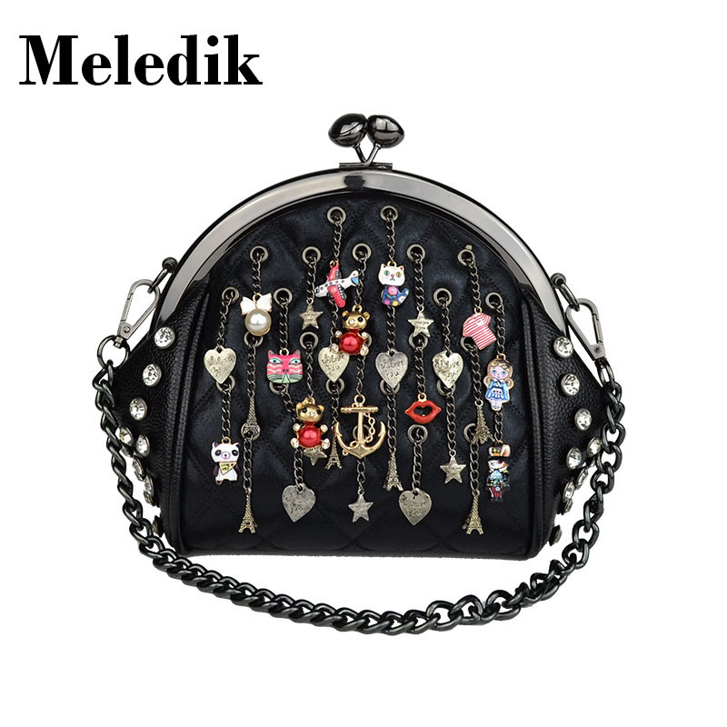 2017 Brand Designer Meledik women shell handbag pu leather girl shoulder bag Chain deco hanging vintage small tote bag tassel<br>