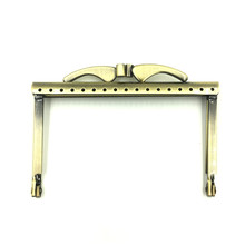 10Pcs Bronze Tone Purse Bag Clutch Rectangle Frame Kiss Clasps Lock Buckle Fashion Handbag Handle 10.5cm(China)