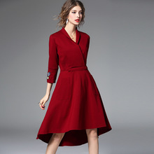 2017 Women Dresses Autumn Winter High Quality New Bow V-Neck Lady Casual Stitching Slim Dress Party Dance Dinner Women Dress
