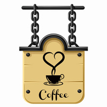 Coffee shop Restaurant Love Heart wall decor decals home decorations 361 kitchen removable vinyl wall art diy decorative sticker(China)