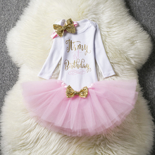 1 year girl baby birthday dress autumn 2017 cotton kids baby clothes first 1st birthday Christening Christmas dresses for girls(China)