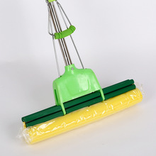 1PCSLarge Rubber Cotton Roller Mops 38CM Stainless Steel Rod Retractable Squeeze Water Sponge Mop Household Floor Cleaning Tools