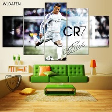 5 Panel Canvas Printed Real Madrid Ronaldo Painting For Living Picture Wall Art HD Print Decor Modern Artwork Football Poster HD(China)