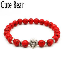 Cute Bear Antique Silver Indian Head Bracelets For Women Red Bead Frosted Stone Elastic Rope Beaded Bracelets Women Jewelry
