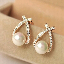 Tomtosh Nice shopping!! 2016 Fashion Gold Crystal Stud Earrings Brincos Perle Pendientes Bou Pearl Earrings For Woman