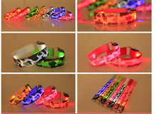 100pcs/lot Glowing Bracelet Led Nylon Zebra Print Light Nocturnal Warnings Ring for Sports Running Cycling Gear Glowing Armband