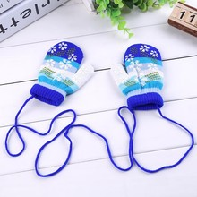 Winter Kids Child Lanyard Gloves mitts Colorful Snowflake Pattern Halter Pack