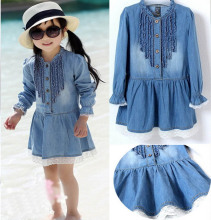 Kids Girls Dress fashion Lovely Denim Blue Beautiful Lace princess dress 2-7Y