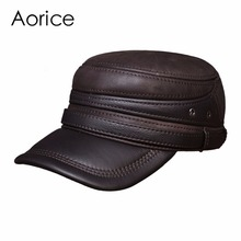 HL103 Men's real cow leather cap hat brand new style winter warm Russian genuine leather baseball caps hats
